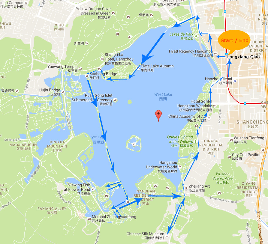 Hangzhou West Lake Cycling Map