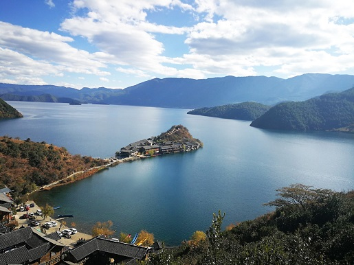 Aerial View of Lege Peninsula in Lugu Lake