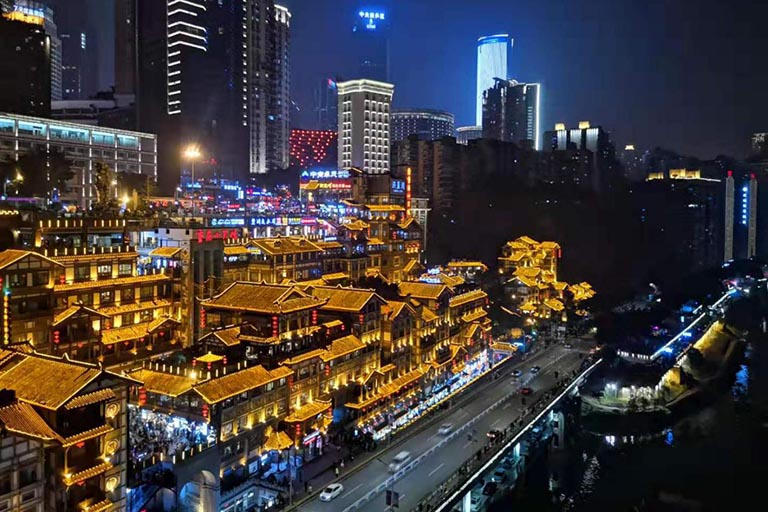 Chongqing Night View - Hongyadong Cave